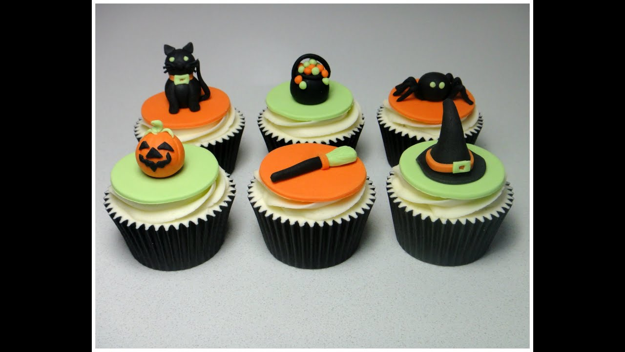 How to make halloween sugarpaste fondant cupcake topper Halloween cupcakes