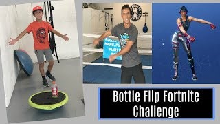 Water Bottle Flip Trick Shots Fortnite Dad Vs Son Challenge Bro Yes!