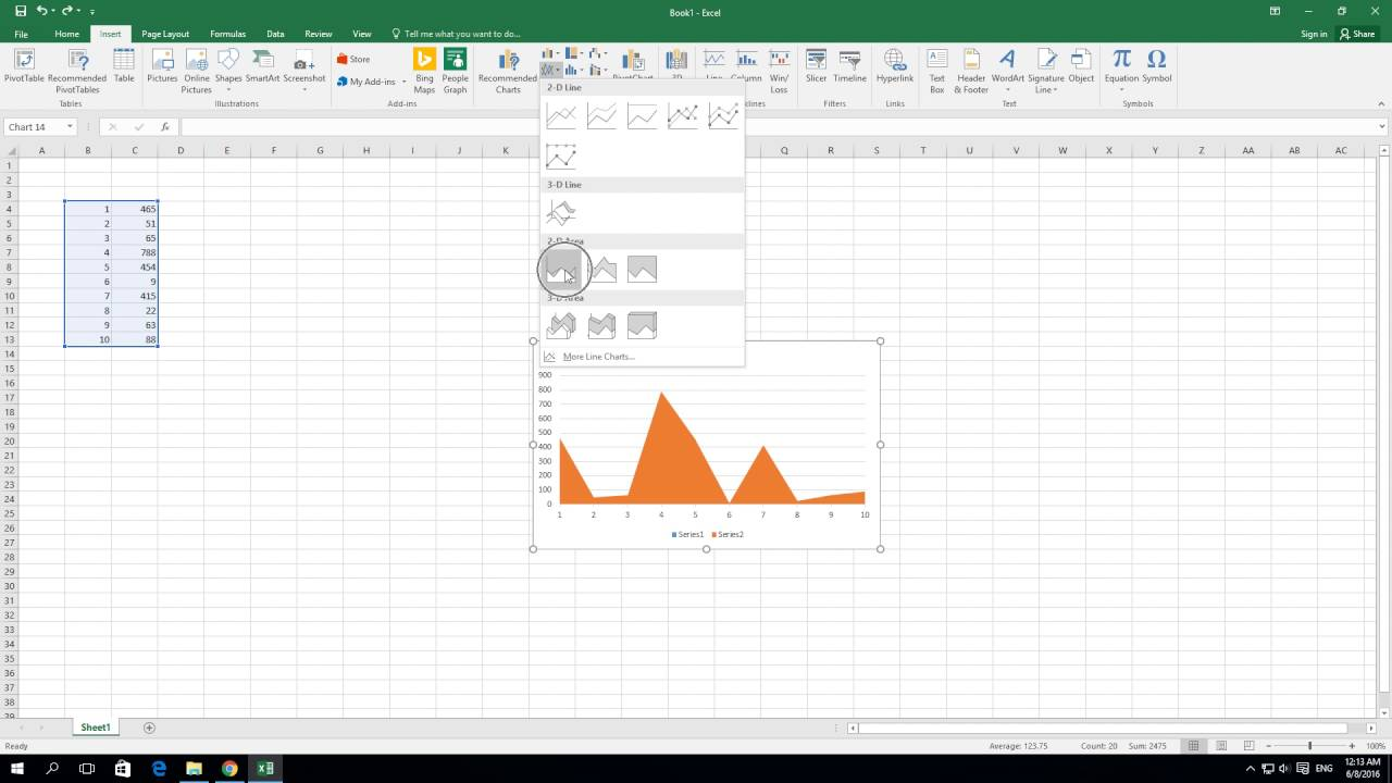 How to create   area chart in excel also youtube rh