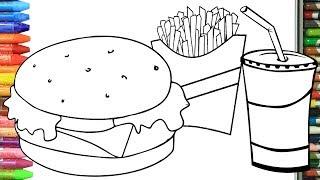 Hamburger Nasıl çizilir çocuklar Için Resim çizme Boyama How