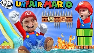 UNFAIR MARIO!  IMPOSSIBLE GAME? w/ FGTEEV Duddy & Chase (Super Mario Bros Fun Gameplay)