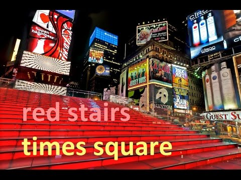 Red Stairs In Time Square, Duffy Square, New York, USA   1 Minute Story NS