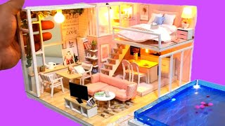 DIY MINIATURE *NEW BARBIE DOLLHOUSE with REAL SWIMMING POOL