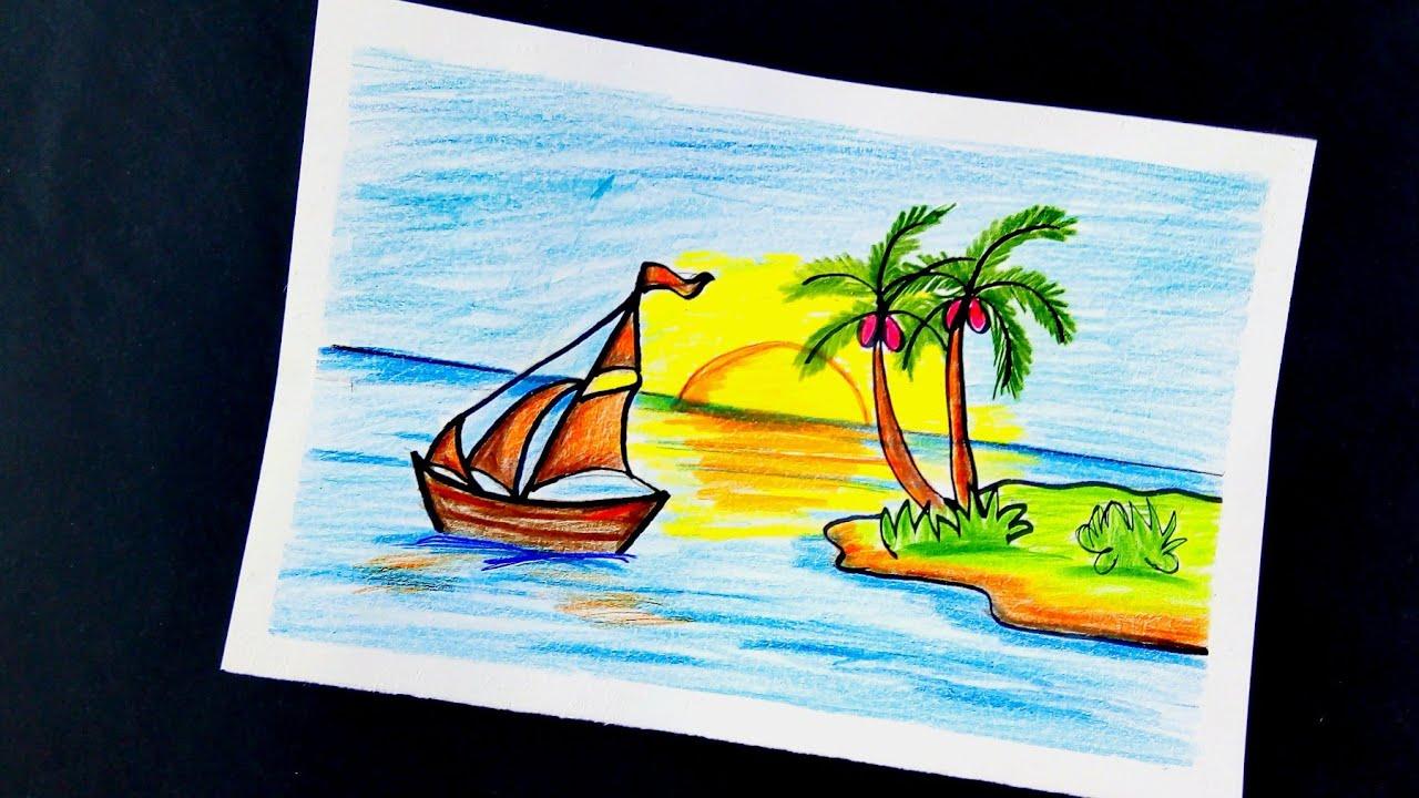 رسم منظر طبيعي سهل بالالوان الخشبية للمبتدئين خطوةبخطوة بحر ومركب