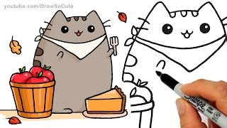 How to Draw Autumn Pusheen Cat Eating Pie step by step Easy - Fall Leaves