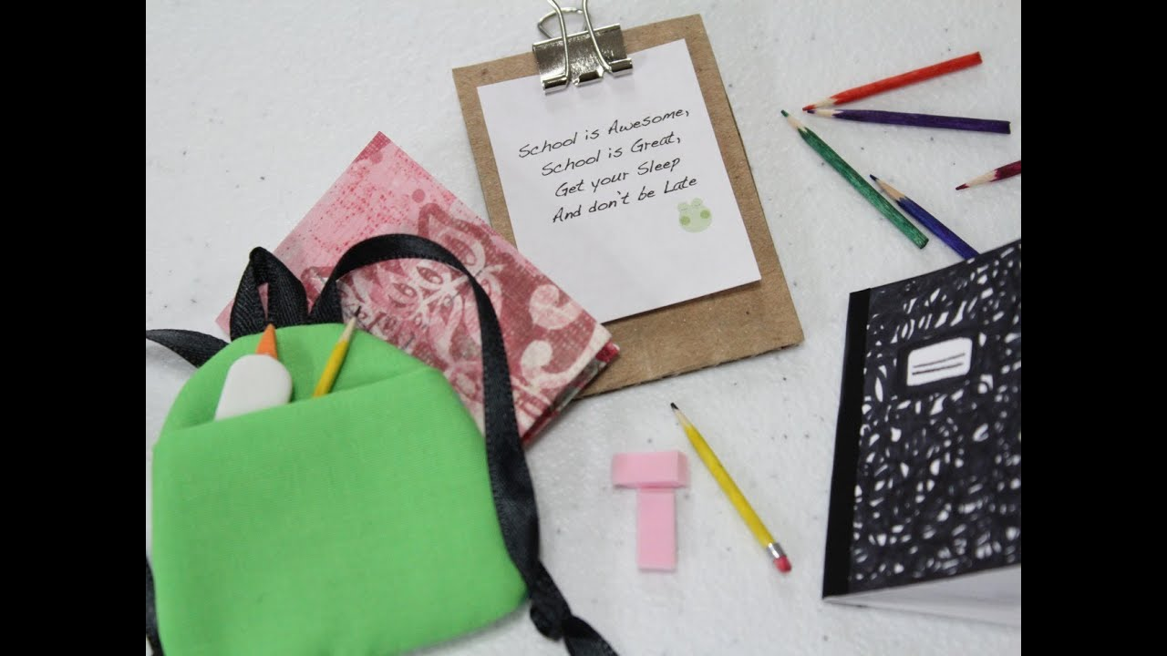 How to Make a Doll School Supplies: Book Bag | Doll Crafts - YouTube