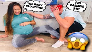 MY WATER BROKE PRANK! *HE CRIED AND CALLED 911*