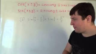 Формулы суммы и разности косинуса и синуса, часть 3 Алгебра 10 класс