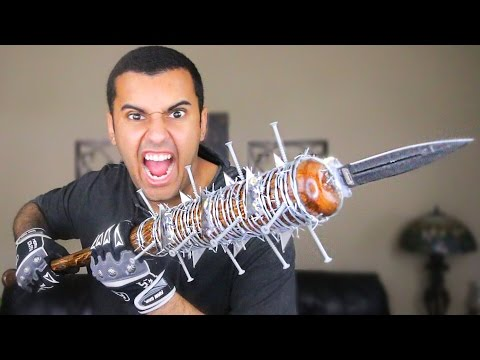 EXPERIMENT!! FLAMING LUCILLE 2.0 BARBED WIRE BASEBALL BAT/SPEAR!! THE WALKING DEAD *MOST DANGEROUS*