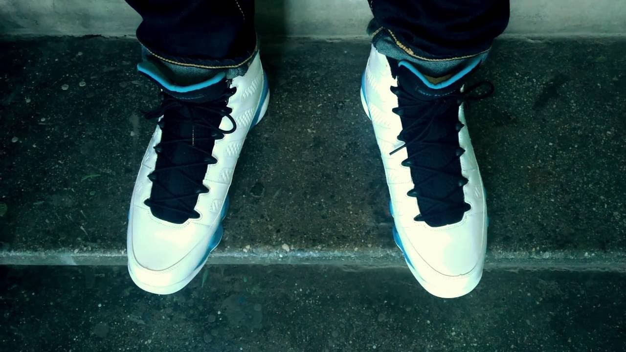 sports shoes c594d 120f8 2010 Air Jordan IX (9) Retro   Powder Blue   UNC   White Black-University  Blue on feet wdywt womft