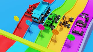 Color Slides Candies Monster Trucks and Color Water Pools Colors learning Video for Children
