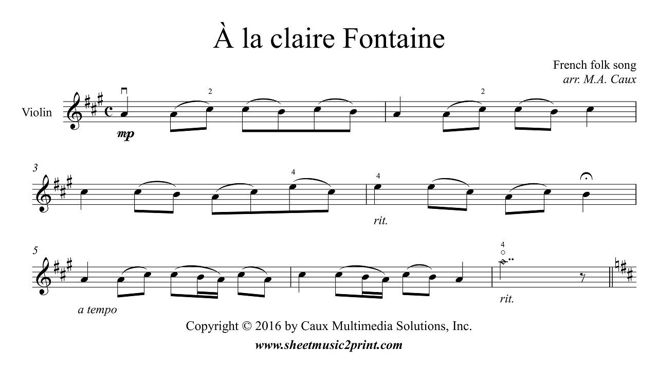 Uncategorized A La Claire Fontaine la claire fontaine violin youtube violin