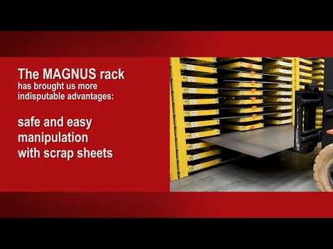 Rack MAGNUS – innovative rack for holding in storage residual tables
