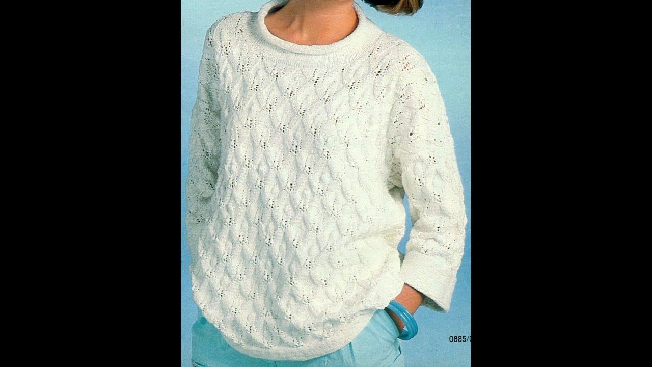 Como Tejer jersey blanco Con relieve - YouTube
