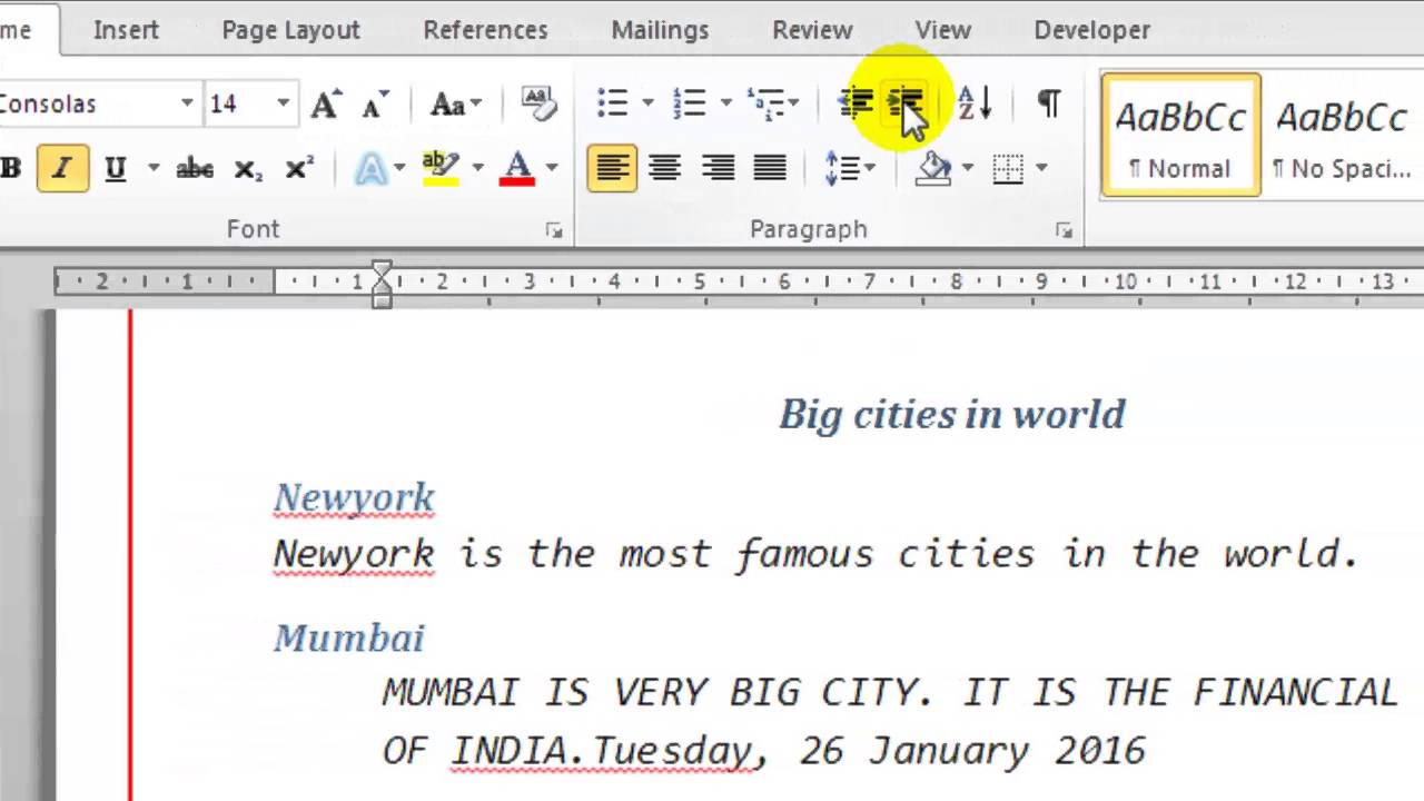 how to indent second line only in microsoft word