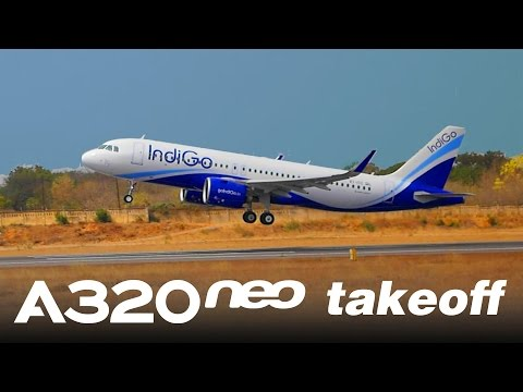 Indigo Airlines' First Airbus A320neo - Takeoff at Hyderabad's Begumpet Airport || (VT-ITC)