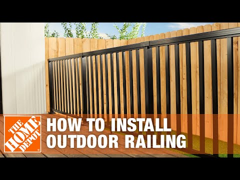 How To Install An Outdoor Aluminum Railing The Home Depot Youtube   Metal Handrail Home Depot   Wood   Stair Railings   Aluminum Railing   Outdoor Handrails   Staircase