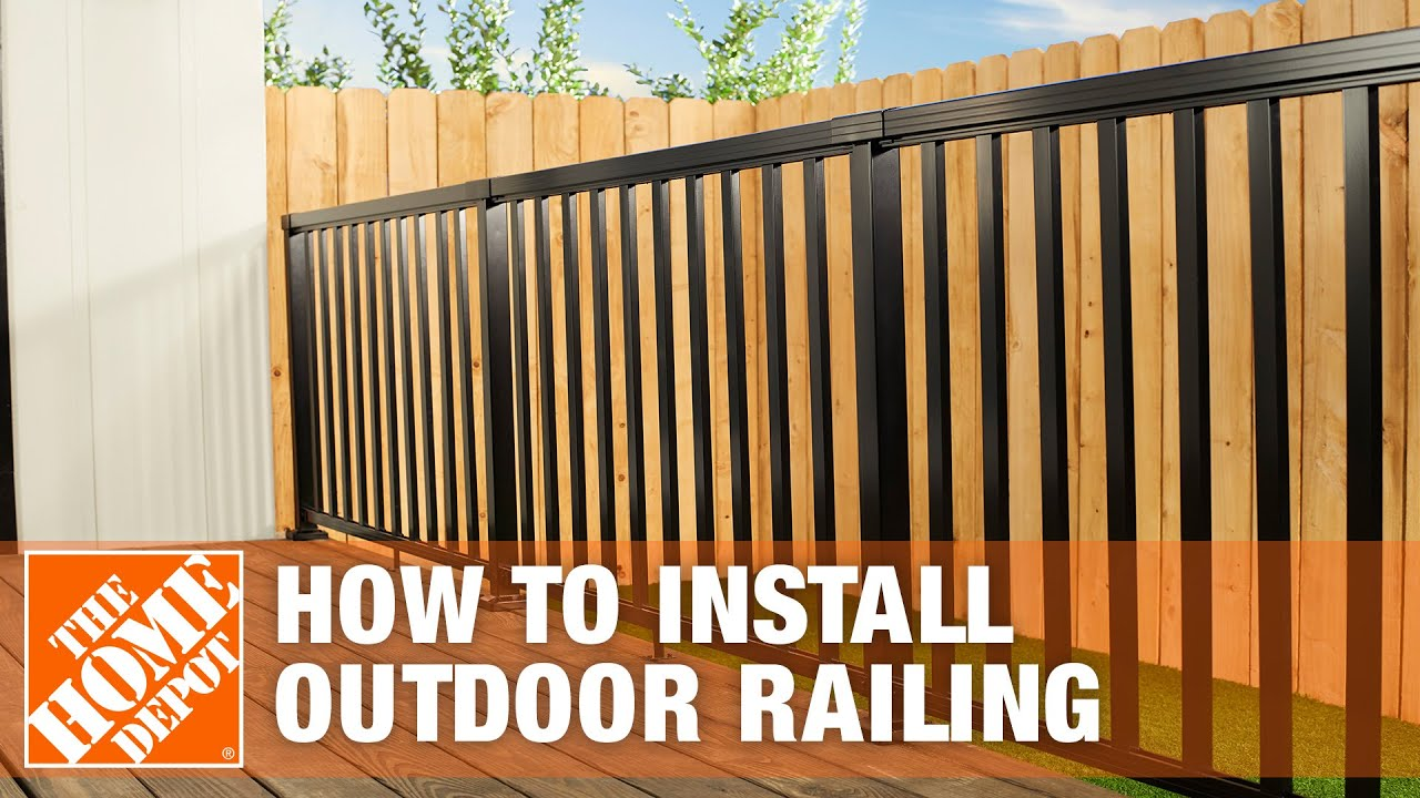 How To Install An Outdoor Aluminum Railing The Home Depot Youtube | Modern Stair Railing Home Depot | Iron Stair | Deck Railing | Railing Kits | Cable Railing Systems | Railing Designs