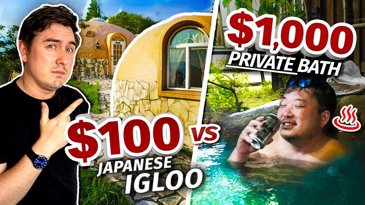 Staying in Japan's $100 IGLOO Hotel vs. $1,000 PRIVATE Bath Inn