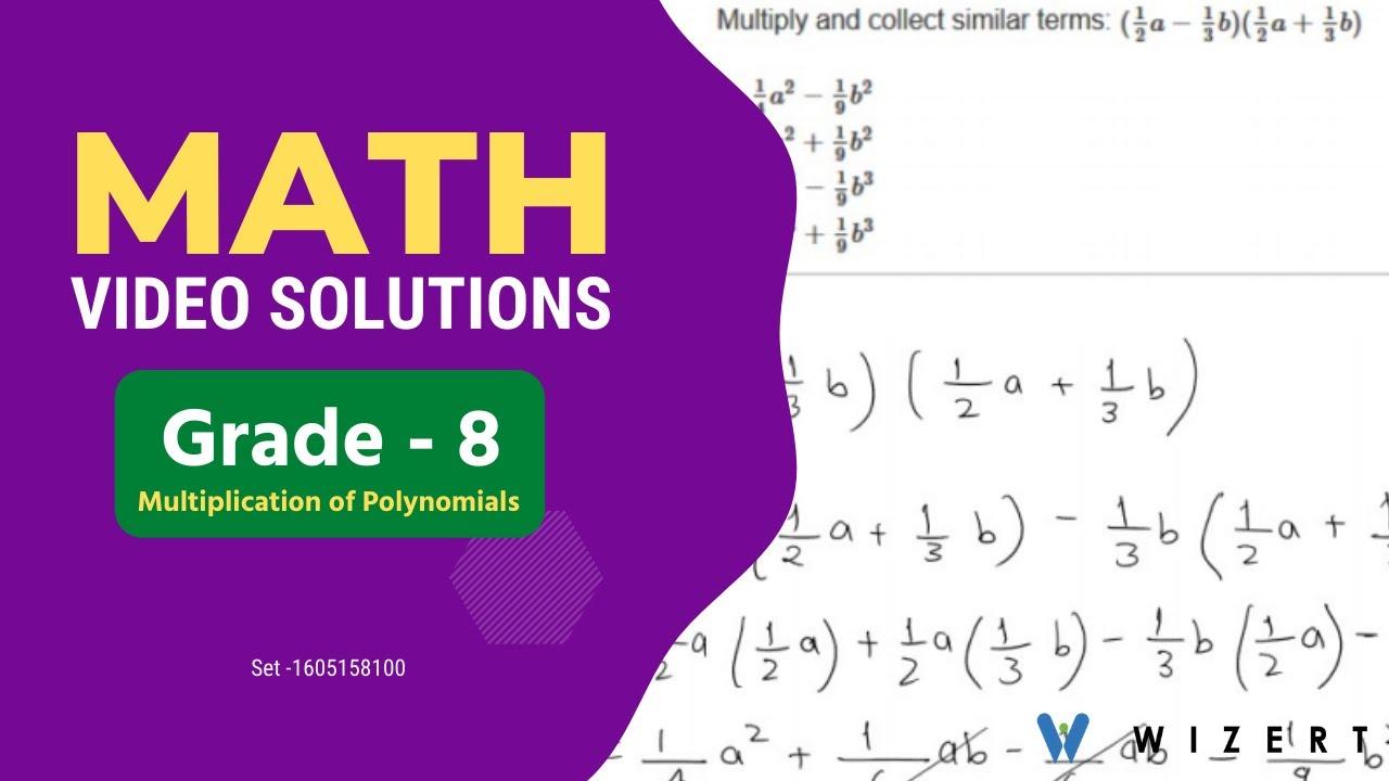 Grade 8 Mathematics Worksheets - Multiplication of Polynomials worksheet  for Grade 8 -Set 1605158100 - YouTube [ 720 x 1280 Pixel ]