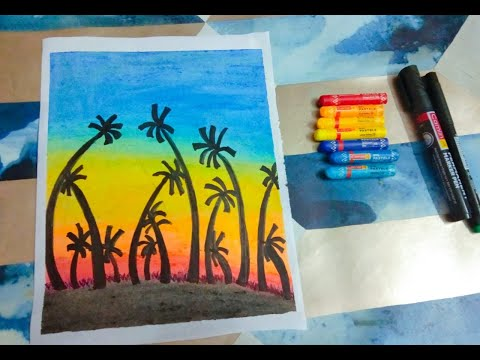 Landscape Drawing for beginners with Oil Pastels / DIY Paintings