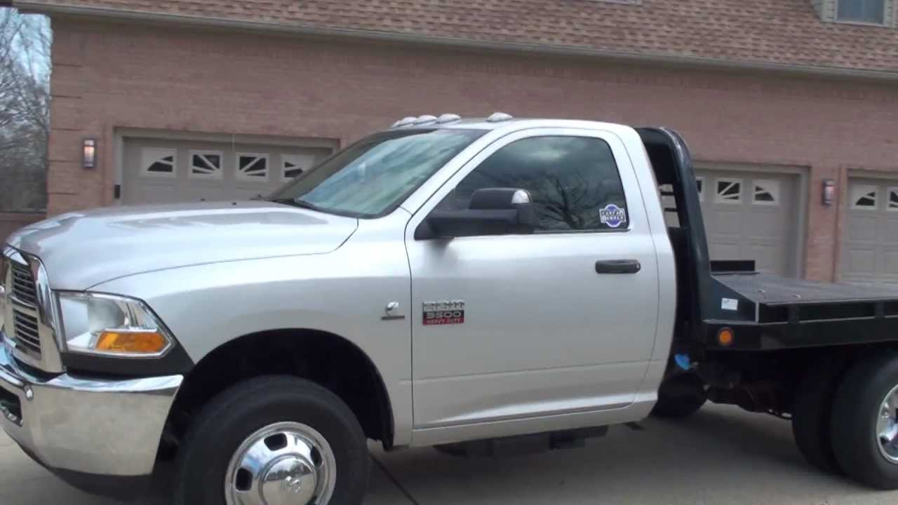 HD VIDEO 2011 DODGE RAM 3500 FLAT BED CUMMINS DIESEL 2WD FOR SALE SEE WWW.SUNSETMILAN.COM - YouTube