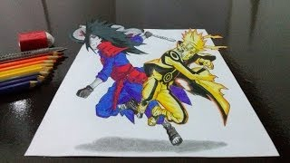 Desenhando Naruto vs Madara em 3D (Drawing Naruto x Madara in 3D)