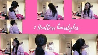 7 HEATLESS HAIRSTYLES FOR MEDIUM/LONG HAIR Part 1| Shereechinn
