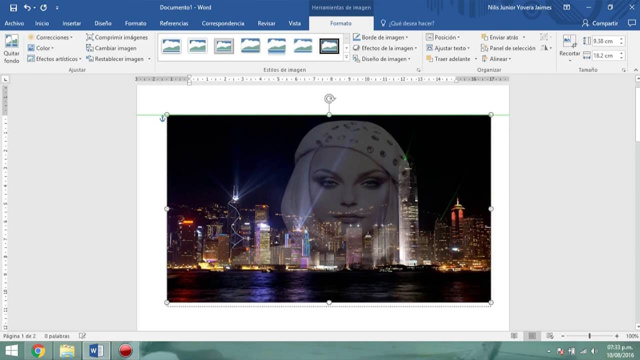Cómo hacer una imagen transparente estilo montaje con Microsoft Word 2016