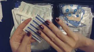 ASMR ~ First Aid Kit Up-Close Crinkly Show & Tell (Whisper)