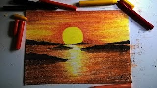 Speed drawing: giz de cera/ Crayon- Pôr do sol