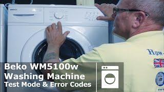 beko wm5100w washing machine test mode error code faults diagnostic