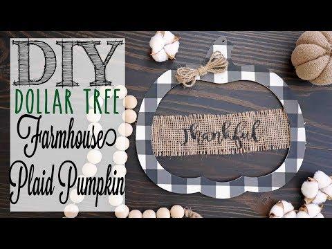 DIY Dollar Tree Farmhouse Plaid Pumpkin