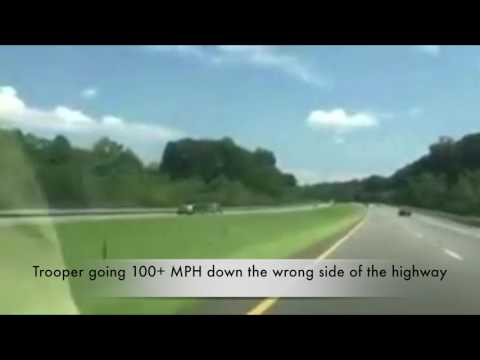 North Carolina state Trooper going 100+ MPH down the wrong side of the Highway