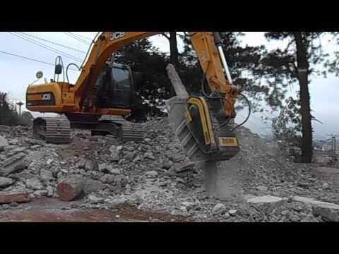 MB Crusher Bucket Crushing Concrete Pile And Railway Sleepers