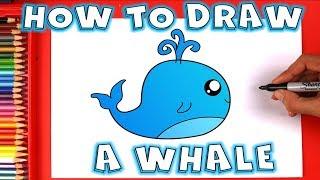 How to Draw a Blue Cute Cartoon Whale