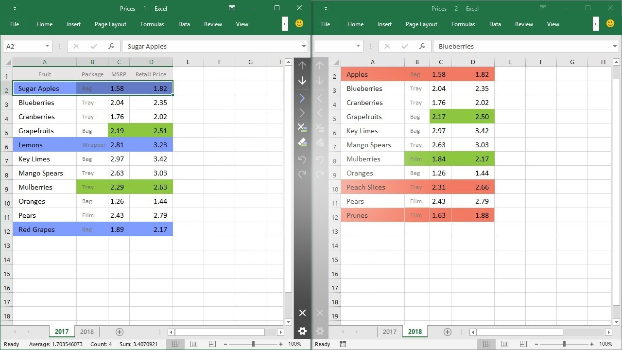 Excel: compare two worksheets and highlight differences ...