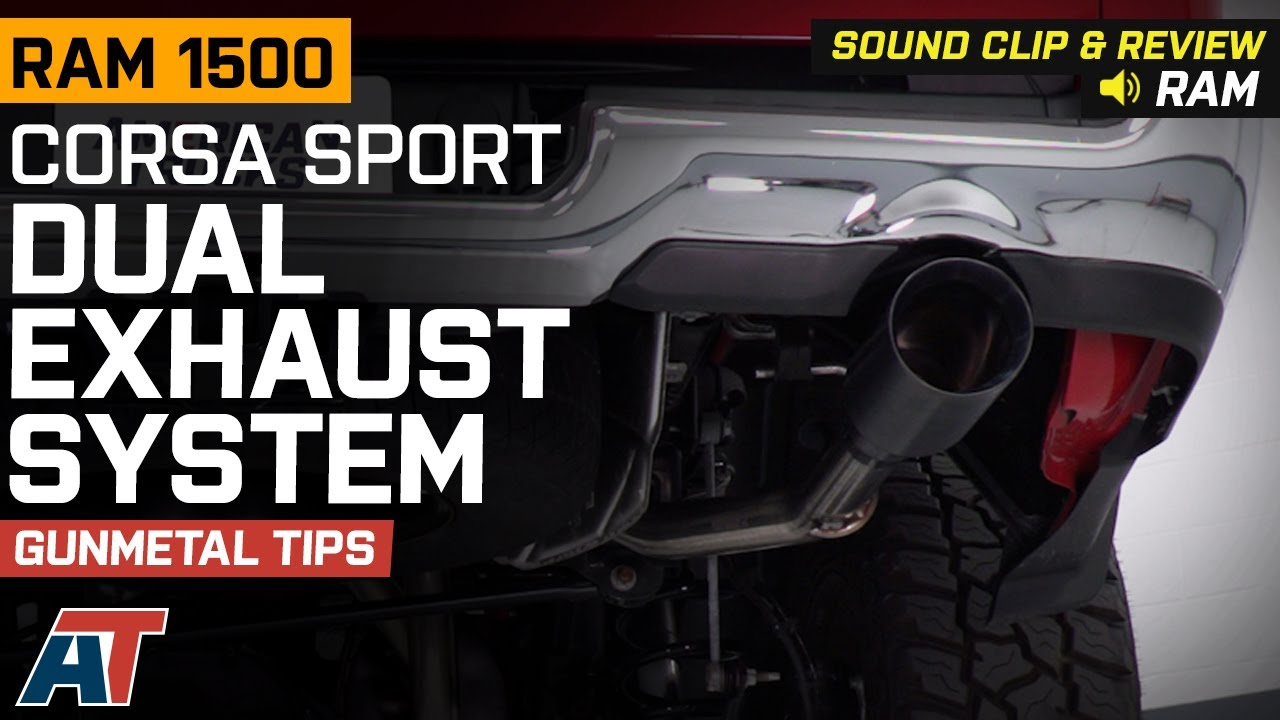 corsa sport dual exhaust system with gunmetal tips rear exit 19 21 5 7l ram 1500