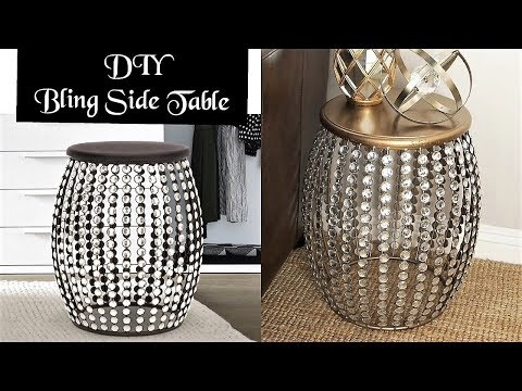 BLING SIDE TABLE DIY - UNIQUE ROOM DECOR ON A BUDGET!
