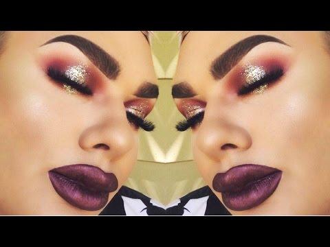 Burgundy Glitter Halo Eyes + Full Glam Makeup Tutorial ♕