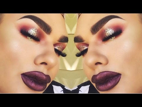 Burgundy Glitter Halo Eyes_Full Glam Makeup Tutorial