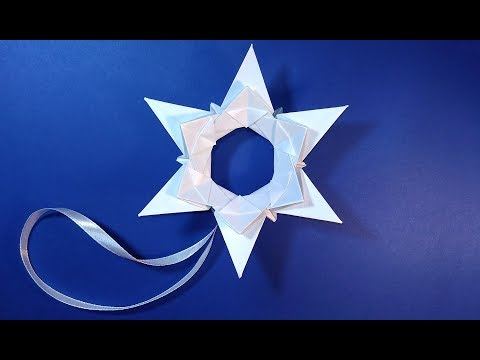 Easy Origami star. DIY Christmas ornaments. Paper star for Christmas tree
