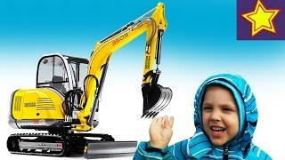 Экскаватор в работе Видео для детей Kids video about excavator(Привет, ребята! В этой серии Игорюша встречает маленький желтый экскаватор и бетономешалку. Наблюдаем за..., 2016-04-16T07:19:36.000Z)