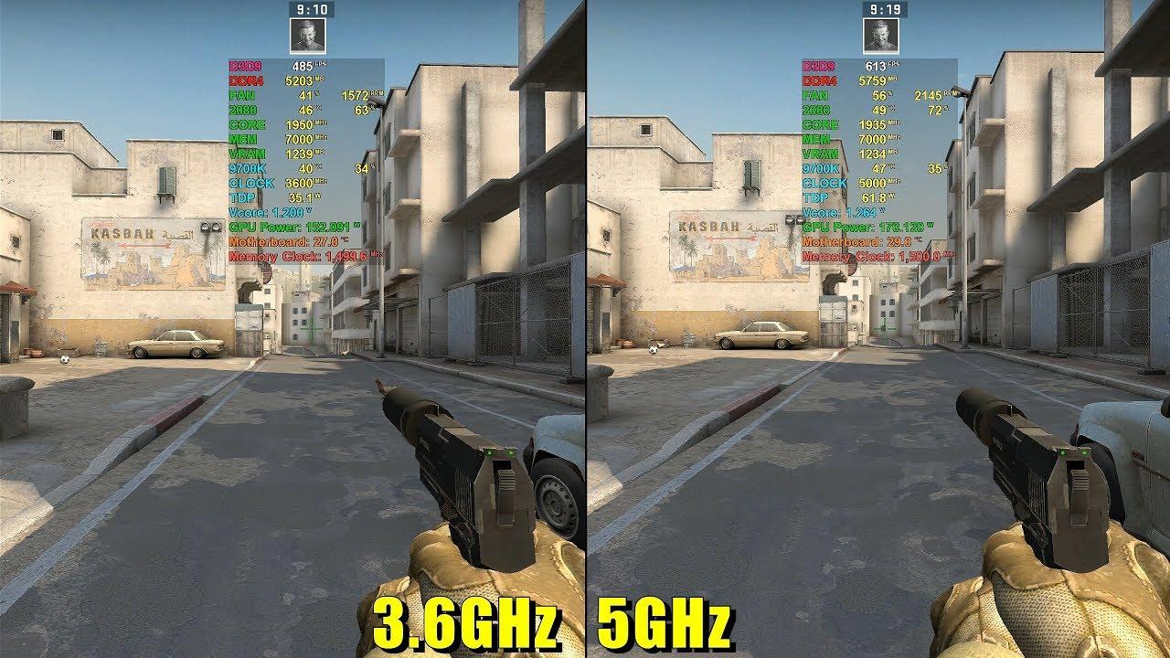 i7-9700K in CS GO [ Base clock 3 6GHz vs OC 5GHz ]