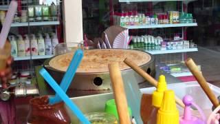 Peanutbutter, banans, mango panckake Koh Tao 60 Bath