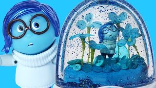 INSIDE OUT GLITTER GLOBES SADNESS Disney Toys Character Blue World How to Make Your Own
