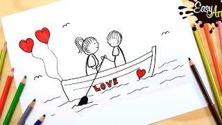 Como hacer una tarjeta de amor san valentin 2│ how to draw a love card