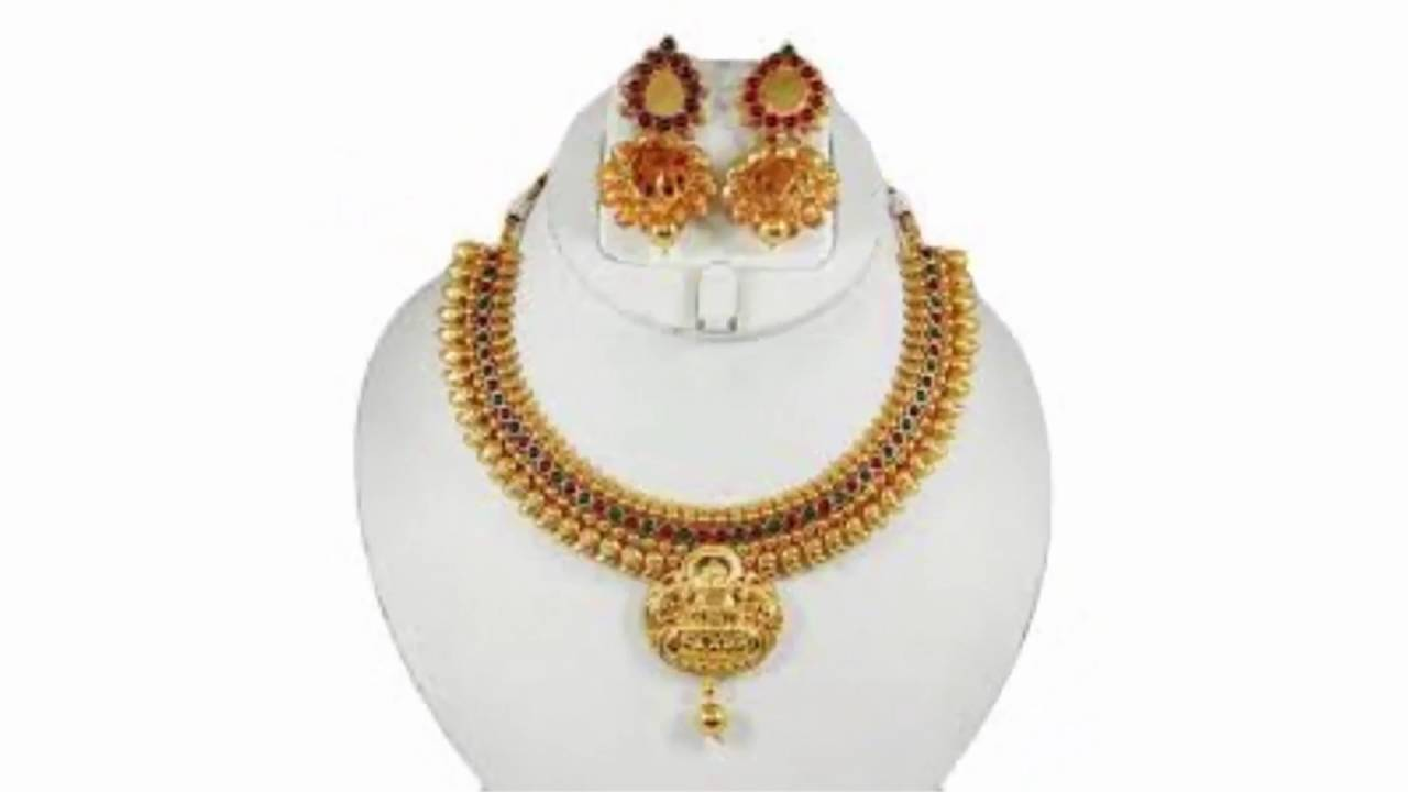gold jewellery sets - anmol one gram gold plated 14 jewellery set - akso -  YouTube 17a02135eb