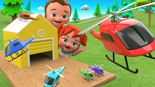 Colors for Children to Learning with Little Babies Fun Play with Color Helicopters Garage Toy Set 3D