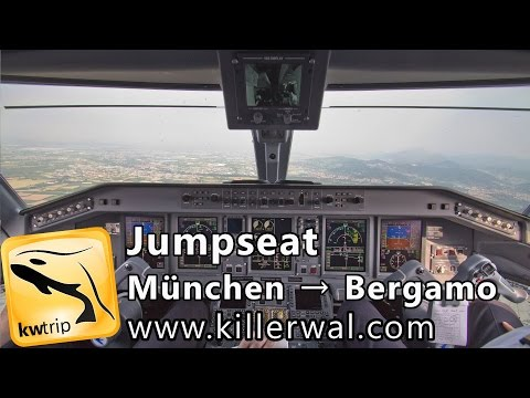 Jumpseat Embraer 195 Munich Take off & Bergamo Landing  AirDolomiti